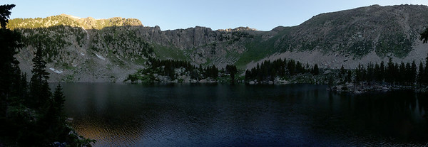 Lake Katherine as the first light is hitting the ridge.